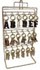 Thin Brass Initial Keyrings Rack 6x18