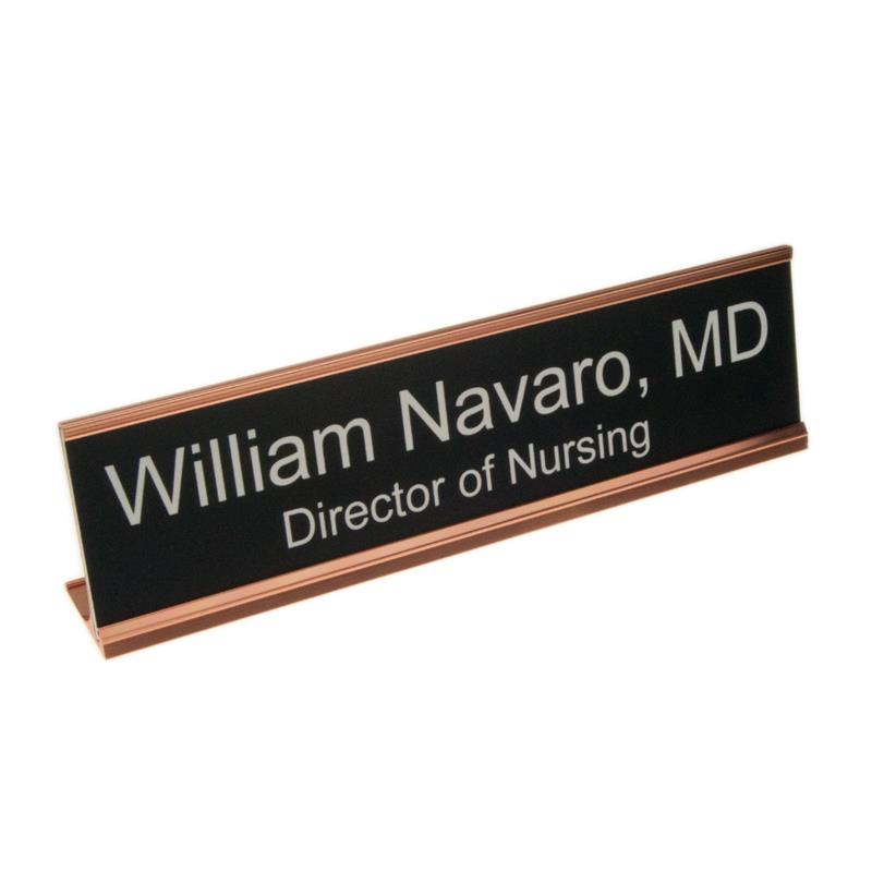 desk plate custom engraved in metal holder 2 x 8