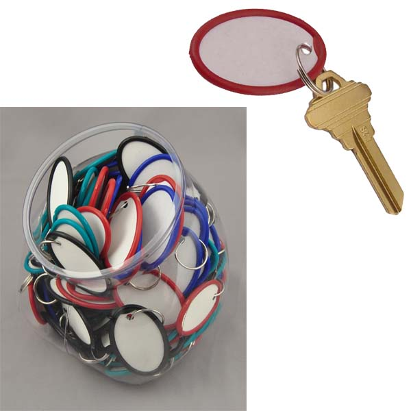 paper key tags Each tag features a split ring that slides easily onto your key for fast, convenient  organization a metal rim around the round tag aids in stability and durability for.