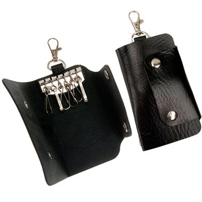 6 Hook Key Case Snap Open Faux Leather