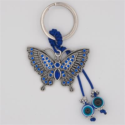 Blue Evil Eye Butterfly Keychain Bulk Each