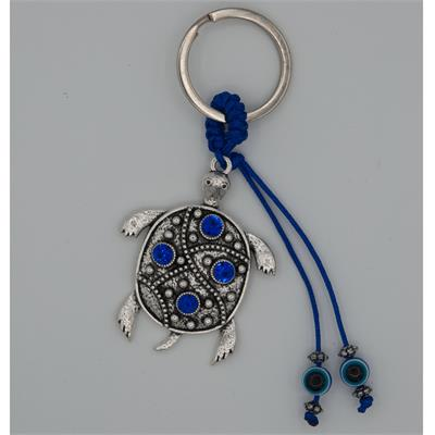 Blue Evil Eye Turtle Keychain Bulk Each