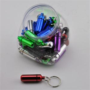 Color Aluminum Pill Holder Keychain 36 Jar