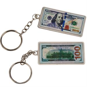Metal Fob $100 Bill Key Chain 12/Card