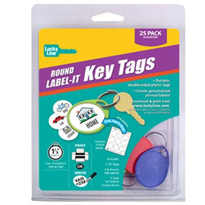 Round Label-It Tags 25 to a Clamshell Pack Assorted Colors