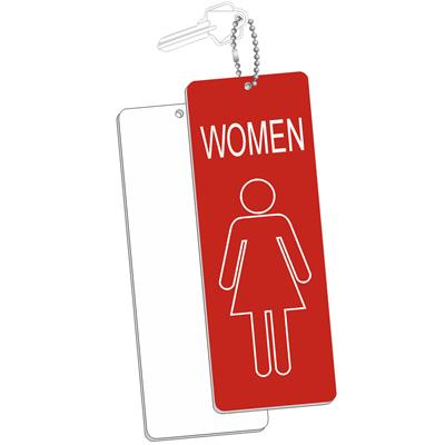Engraved Womens Room Key Tag Jumbo Silhouette Rectangle