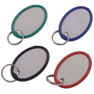 Oval Paper Key Tag With Plastic Rim 1 1/4 Inch