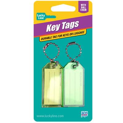 Lucky Line Standard Key Tag with Bead Chain 2 to a Card Assorted Colors