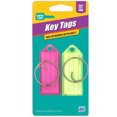 Lucky Line Standard Key Tag with Tang Ring 2 to a Card Assorted Colors