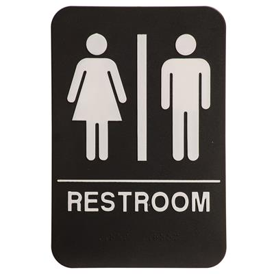 "6"" x 9"" Molded ADA Compliant Sign - Restroom Plain Blk/Wht"