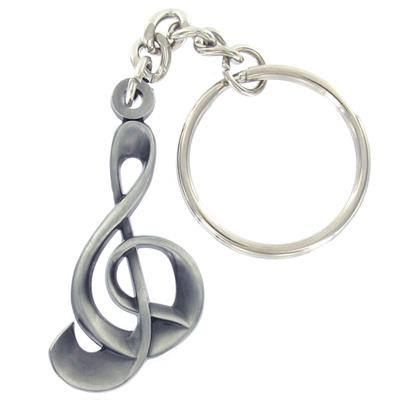 Pewter G Clef Music Note Key Chain