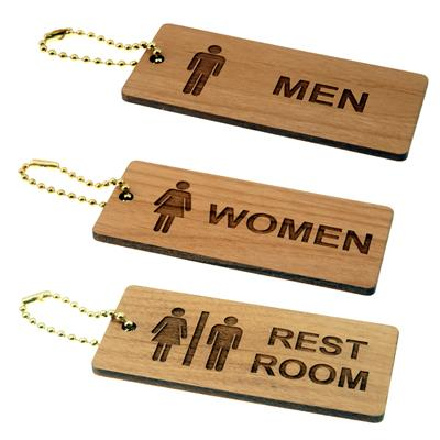 Solid Wood Rectangle Restroom Key Tags