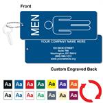 Engraved Mens Restroom Silhouette Key Tag - Jumbo Rectangle - With Custom Back