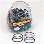 Lucky Line Twisty - Twist Lock Flexible Coated Cable Key Ring 150 Jar Assorted