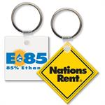 Custom Printed Soft Touch Key Ring - Small Square