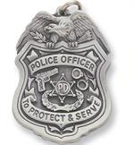 Pewter Police Officer Badge Key Chain