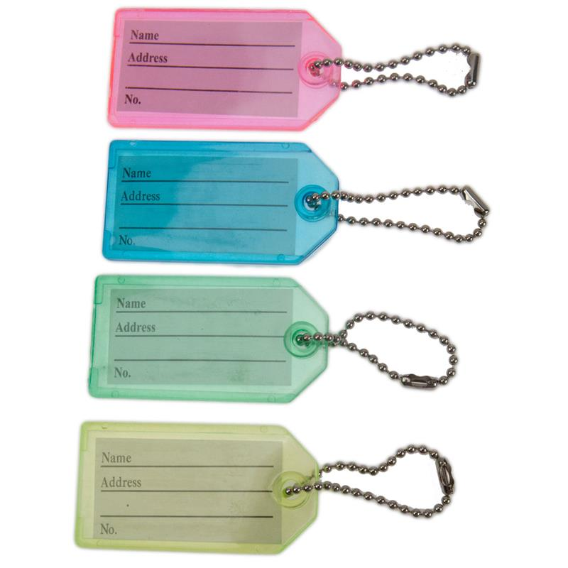 Key Identification Tag Plastic With Beaded Chain Bulk By