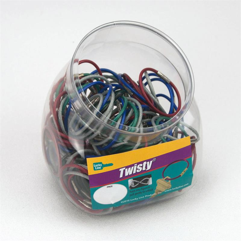 e2556d87a1 Lucky Line Twisty - Twist Lock Flexible Coated Cable Key Ring 150 Jar  Assorted