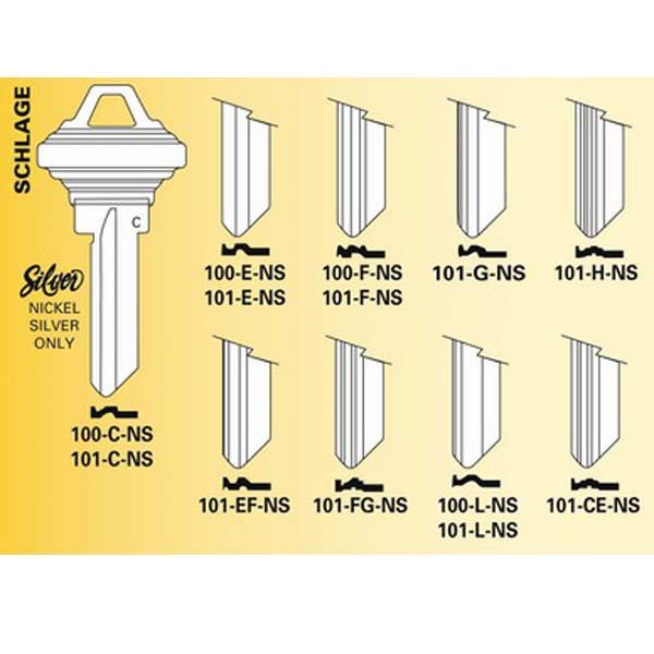 Schlage Key Blanks E key way 6 pin 2