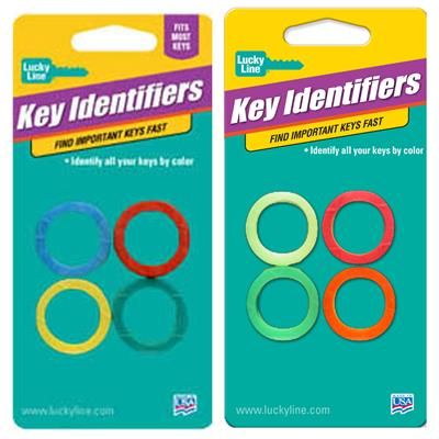 Lucky Line Medium Key Identifier Rings USA MADE 4 to a Card Assorted Colors