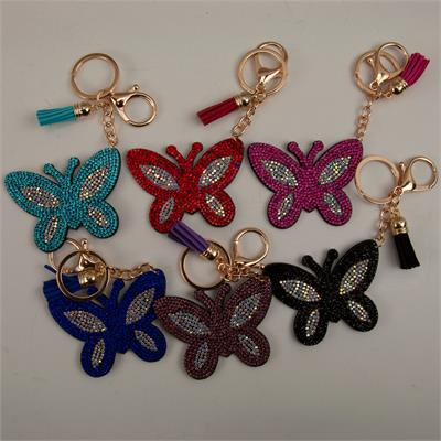 Bling Rhinestone Keychain  Butterfly Felt 12 to a Pack