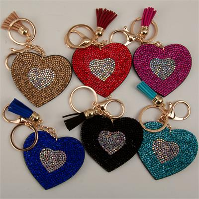 Bling Rhinestone Keychain  Heart Felt 12 to a Pack