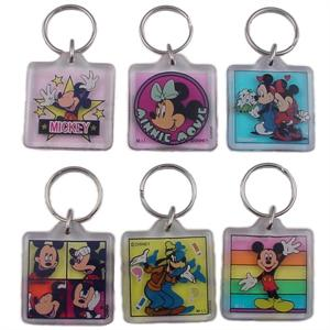 Disney Characters Square Lucite Keychain 12/Card
