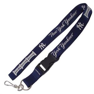 NY Yankees MLB Logo Lanyard Keychain Blue with Facade