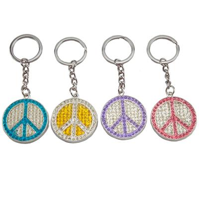 3-D Bling Peace Sign Key Chain with Rhinestones Bulk Each