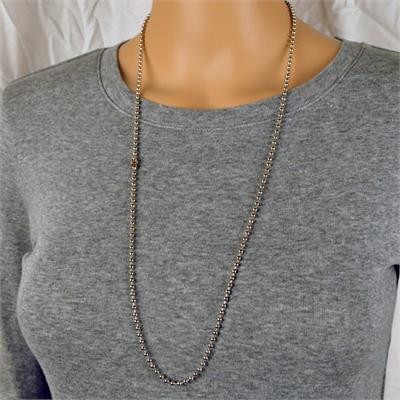 #6 Beaded Neck Chain Nickel Plated Steel 30 inches Bulk Each