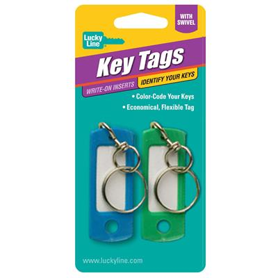 Lucky Line Key ID Tag with Swivel 2 to a Card Assorted Colors