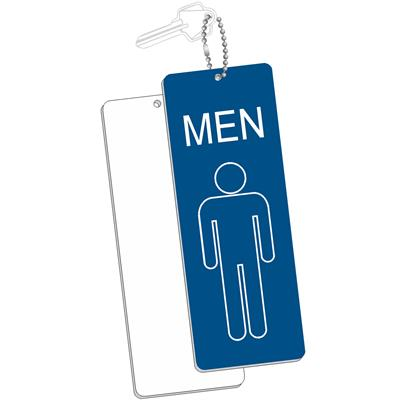 Engraved Mens Room Key Tag Jumbo Silhouette Rectangle