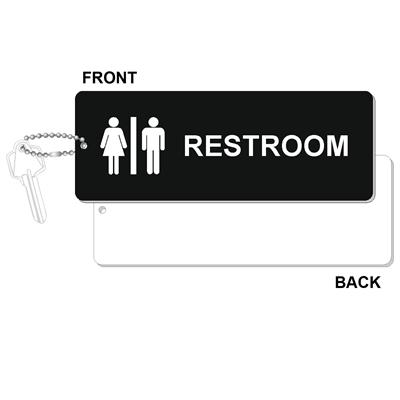 Engraved Restroom Key Tag Jumbo Silhouette Rectangle