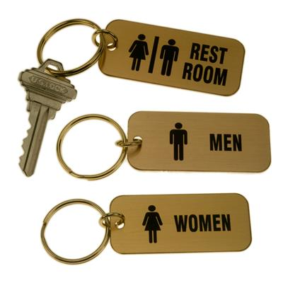 Engraved Restroom Tags - Lacquered Brass Rectangle