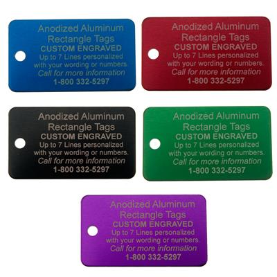 "Aluminum 1-3/16"" x 2"" Rectangle Custom Engraved Tag"