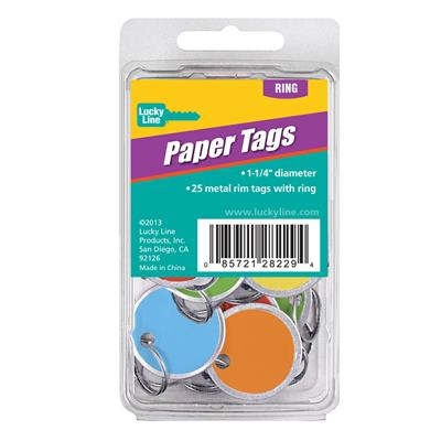 Assorted Color 1.25 inch Paper Tag with Ring 25/Clamshell Pack