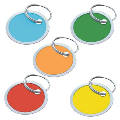 Color Paper Tags with Metal Rim and Ring 1 1/4 Inch - 25 to a Bag by Color