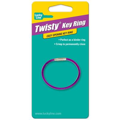 Lucky Line Twisty - Twist Lock Flexible Coated Cable Key Ring 1/Card Assorted Colors