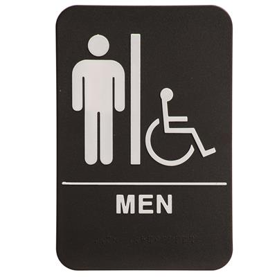 "6"" x 9"" Molded ADA Compliant Sign - Men with Wheelchair Symbol Blk/Wht"