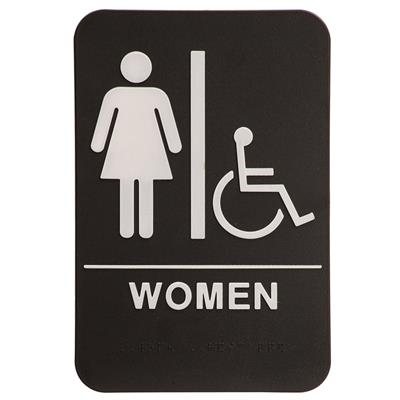 "6"" x 9"" Molded ADA Compliant Sign - Women with Wheelchair Symbol Blk/Wht"