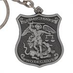Pewter Saint Michael Police Badge Keychain