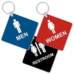 Engraved 3 inch Diamond Shape Restroom Keytags