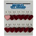 Metal Glitter Heart Shaped Key Chain 12/Card