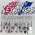 Patriotic USA Stars Dangler Keychain 12 / Card