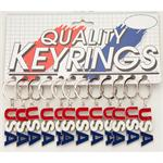 USA Epoxy Metal Letters -Red White and Blue Keychain 12/Card