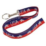 Stars and Stripes Neck Strap Lanyard Key Holder USA 12/Card
