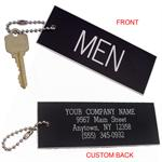 Mens Restroom Key Tag - Standard Rectangle - With Custom Back