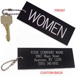 Womens Restroom Key Tag - Standard Rectangle - With Custom Back