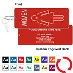 Engraved Womens Restroom Silhouette Key Tag - Jumbo Rectangle - With Custom Back