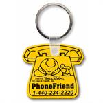 Custom Printed Soft Touch Key Ring - Telephone